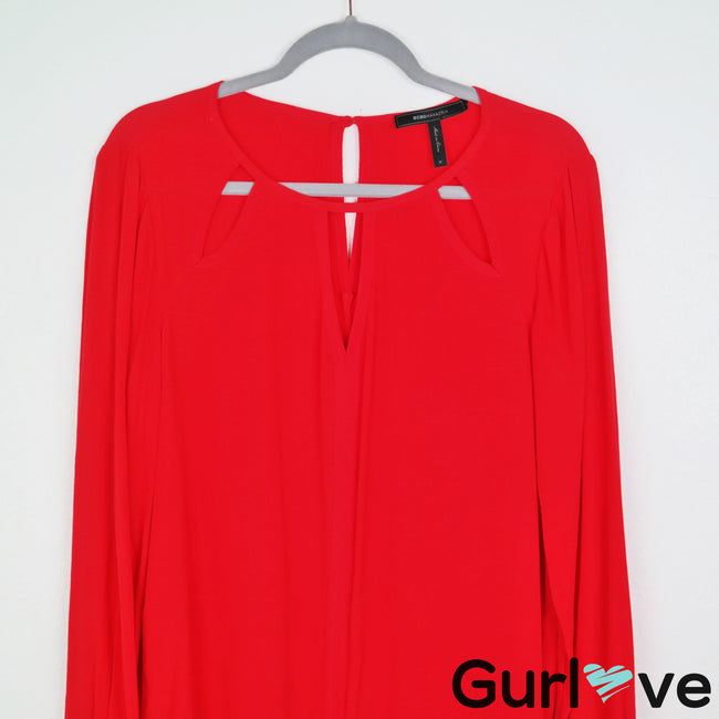 BCBG MaxAzria Red Long Sleeve Mini Dress Size M