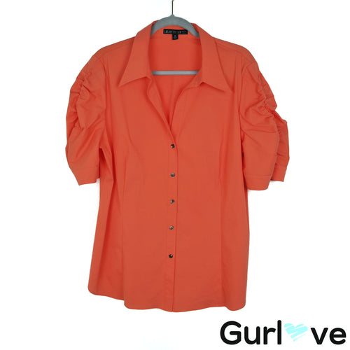 Lafayatte 148 NY Orange Stretch Button Blouse Size 16