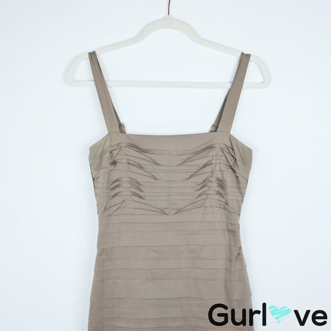 BCBGMax Azria Taupe Layered Straps Gravel Bodycon Dress Size XS