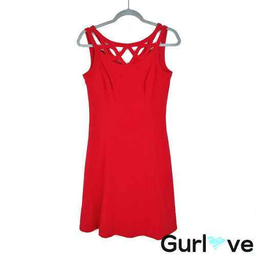 WHBM Red Cut Out Fit Flare Sleeveless Dress Size 4