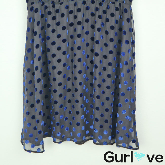 J. Crew Black Blue Silk Velvet Polka Dot Sleeveless Fit Flare Dress Size 14