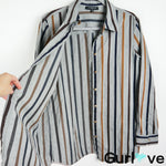 Lafayette 148 NY Gray Striped Long Sleeve Button Shirt Size L