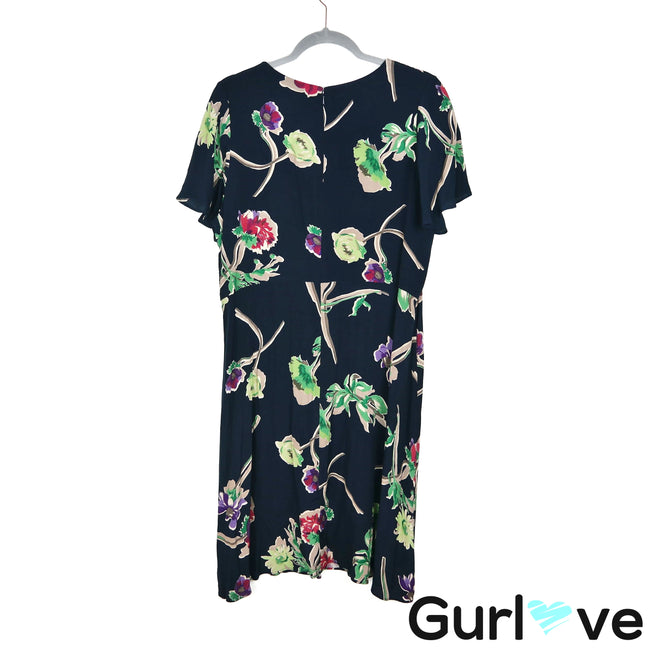 Maeve Navy Floral Short Sleeve Keyhole Midi Dress Size 14