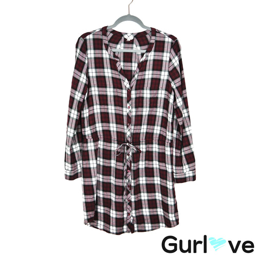 Soft JOIE Plaid Long Sleeve Cassina Deep Garnet Button Dress Size M