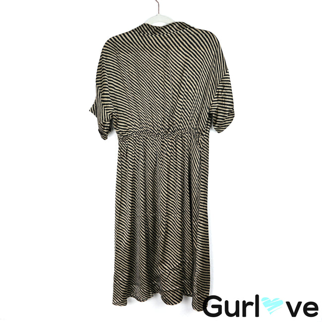 MNG Size L Gold Striped V Neck Faux Wrap Short Sleeves Midi Dress
