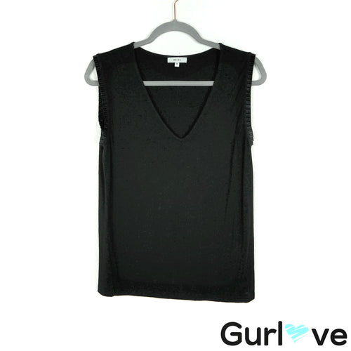 REISS Size M Black V Black Sleeveless Blouse