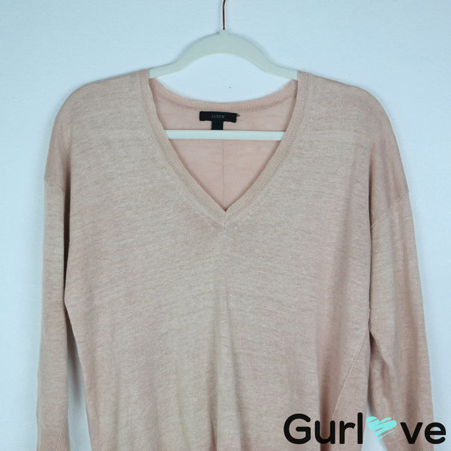 J. Crew Size S Marled V Neck Linen Pullover Sweater