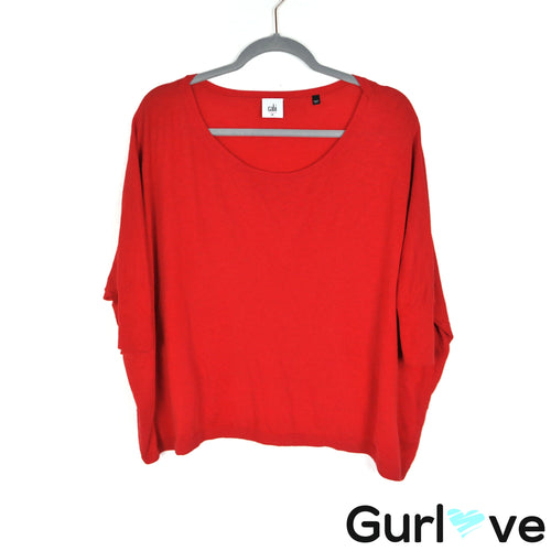 CAbi Size M Red Knit Cartweel Dolman Tunic Top