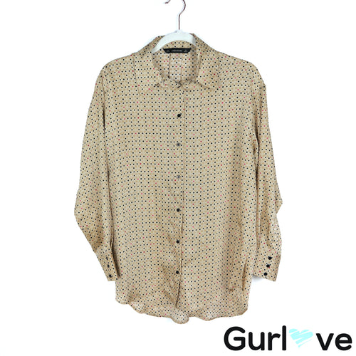 ZARA Size M Gold Satin Polka Dot Dolman Oversized Button Blouse