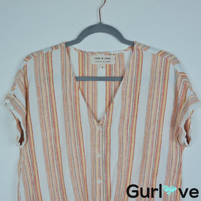 Cloth & Stone Size S Striped Short Sleeve Tie Knot Button Top