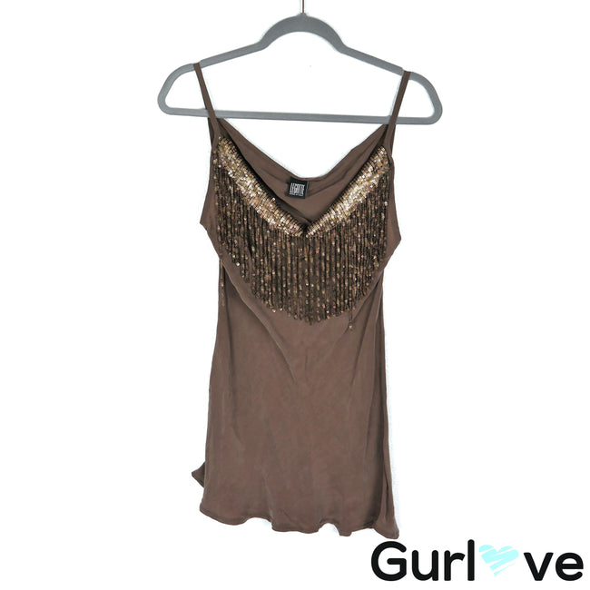 Legatte Size 6 Italy Brown Sequins Tank Top