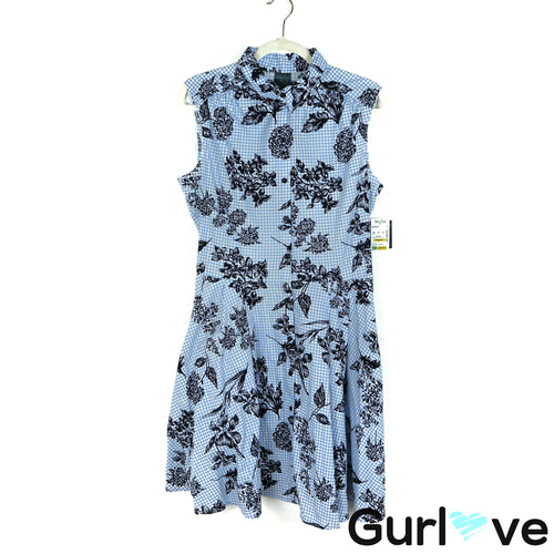 NWT Gabby Skye Size 14 Blue Floral Sleeveless Collar Fit Flare Casual Dress