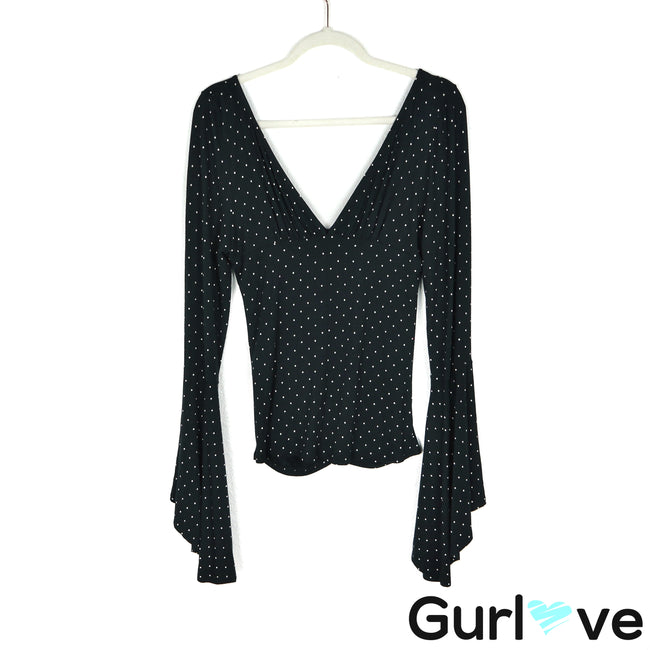 We The Free Size L Black Polka Dot Bell Sleeve V Neck Ruched Blouse
