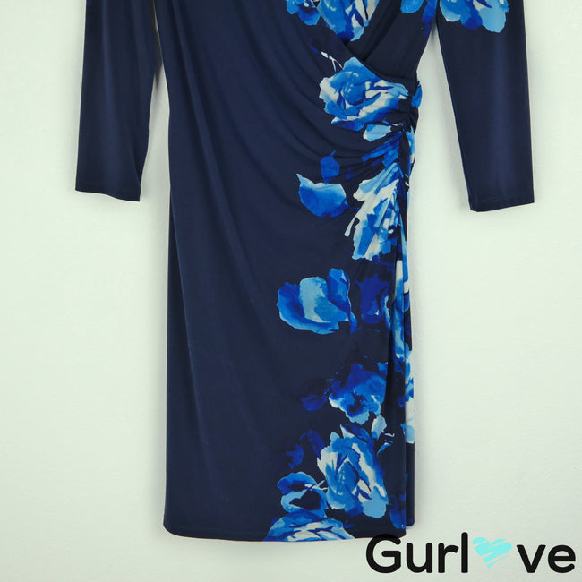 LRL Size 2 Blue Floral Roses 3/4 Sleeve Faux Wrap V Neck Bodycon Midi Dress