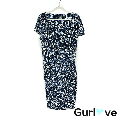 LRL Size 16W Blue Printed Short Sleeves V Neck Stretch Midi Dress