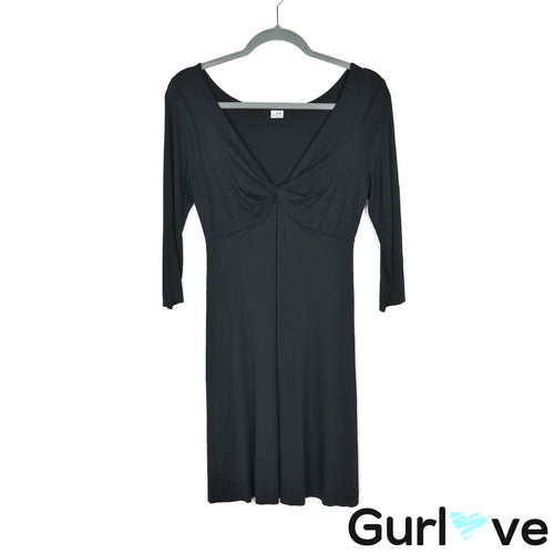 Three Dots Size S Black 3/4 Sleeves V Neck Stretch Dress