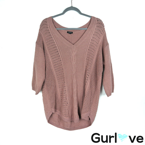 Torrid Size 1X Mauve Cable Knit V Neck Lurex Sweater