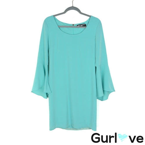 Karl Lagerfeld Size 8 Teal Bell Sleeves Dress