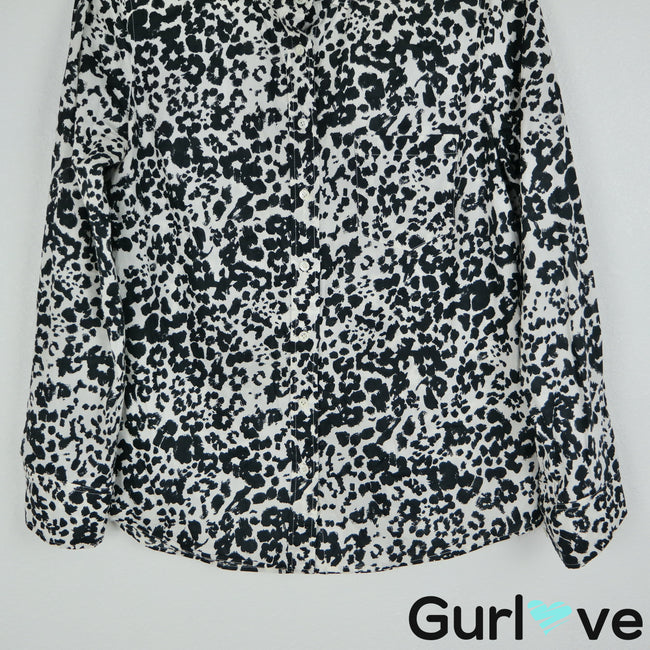 J. Crew Size 6 Black Animal Print Long Sleeve Button Boy Shirt