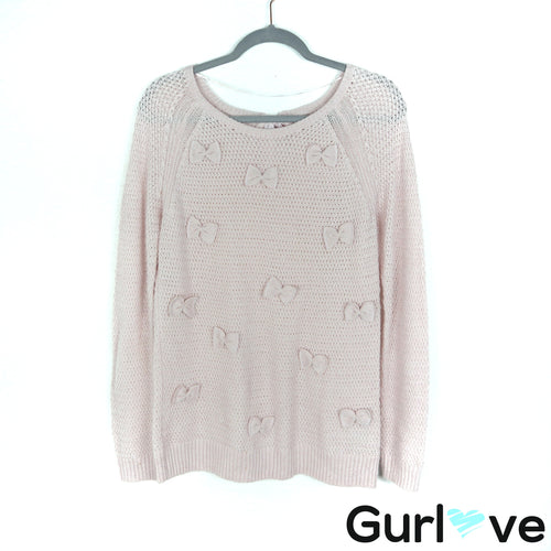 Lauren Conrad Size M Pink Knit Bows Pullover Sweater