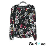 WHBM Size S Black Floral Sheer Long Sleeve Blouse