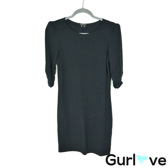 Theory Size S Black Ruched 3/4 Sleeve Stretch Dress