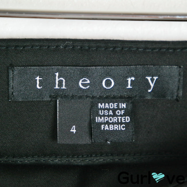 Theory Size 4 Black Ankle Zip Trouser Crop Pants
