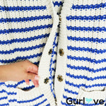 J. Crew Blue White Striped Cotton Chunky Knit Button Cardigan Size M