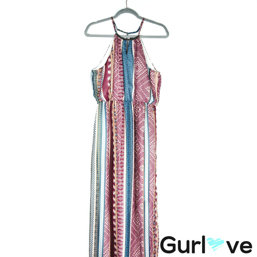 As U Wish Multicolor Halter Aztec Print Maxi Dress Size M