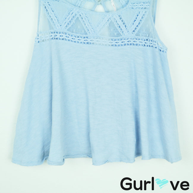 Free People Costa Mesh Swing Top in Light Blue Size S