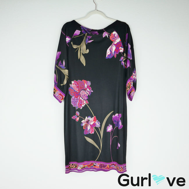 Elie Tahari Black Silk Floral Scallop Hem Sheath Dress Size M