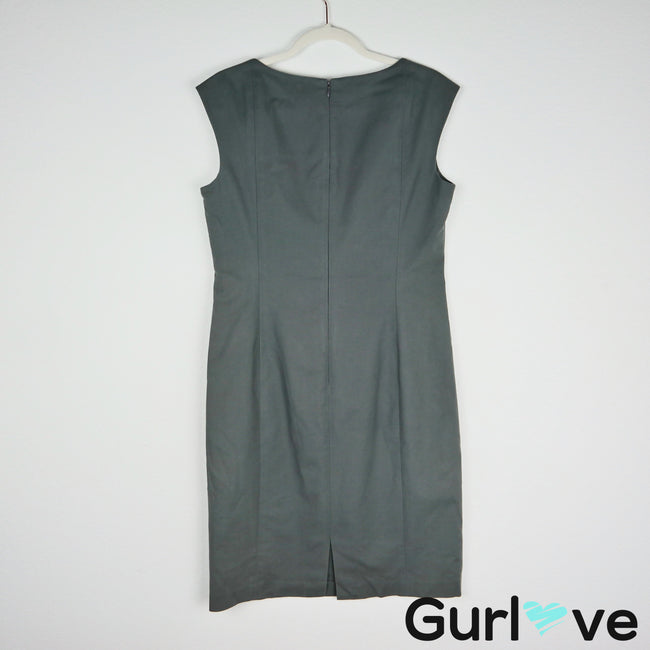 Lafayette 148 NY Gray Sleeveless Shift Dress Size 8