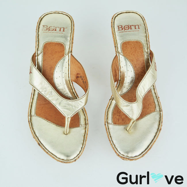 Born Gold Wedges Sandals Size 6