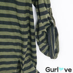 Michael Stars Green Striped V Neck Top Size OS