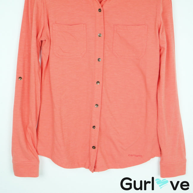 Carhartt Coral Button Down Long Sleeve Cotton Size S