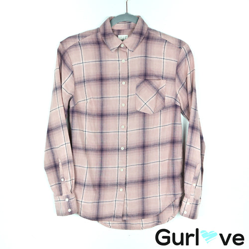 A New Day Flannel Purple Button Down Shirt Size XS
