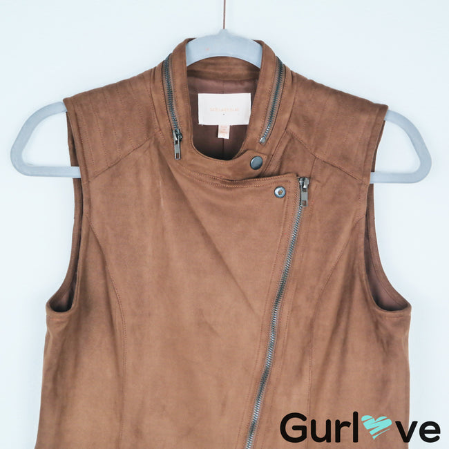 Skies are Blue Faux Leather Brown Asymmetric Vest Size S