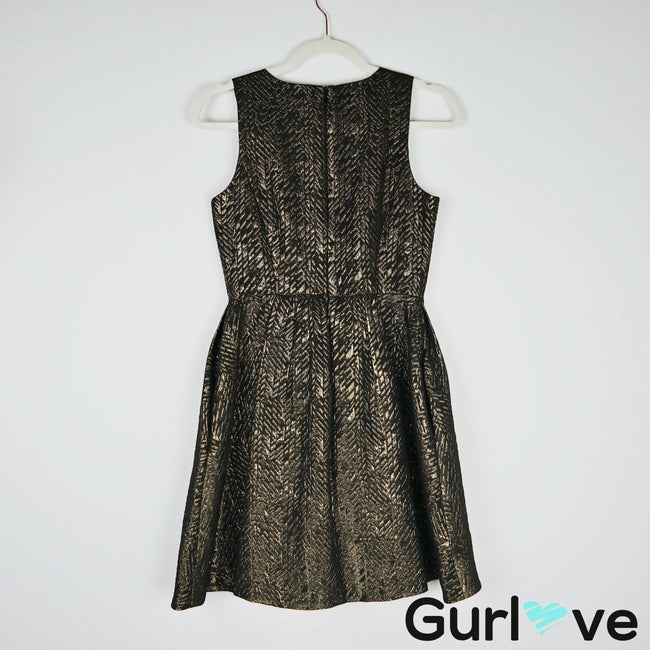 Zara Basic Pockets Metallic Black Gold Princess Dress Size XS