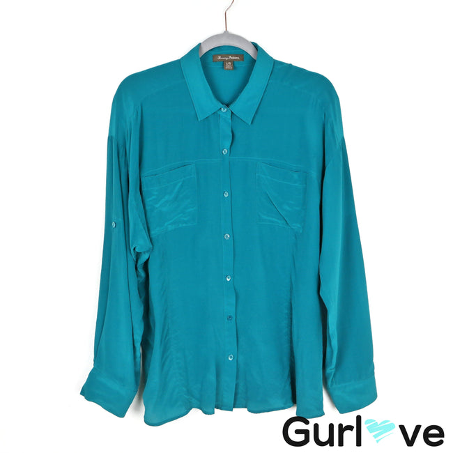 Tommy Bahama Teal Silk Button Shirt Size L