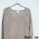 LOFT Outlet Eyelet Brown Sweater Size M