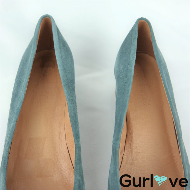 Madewell 9 Blue The Raquel Suede Pumps