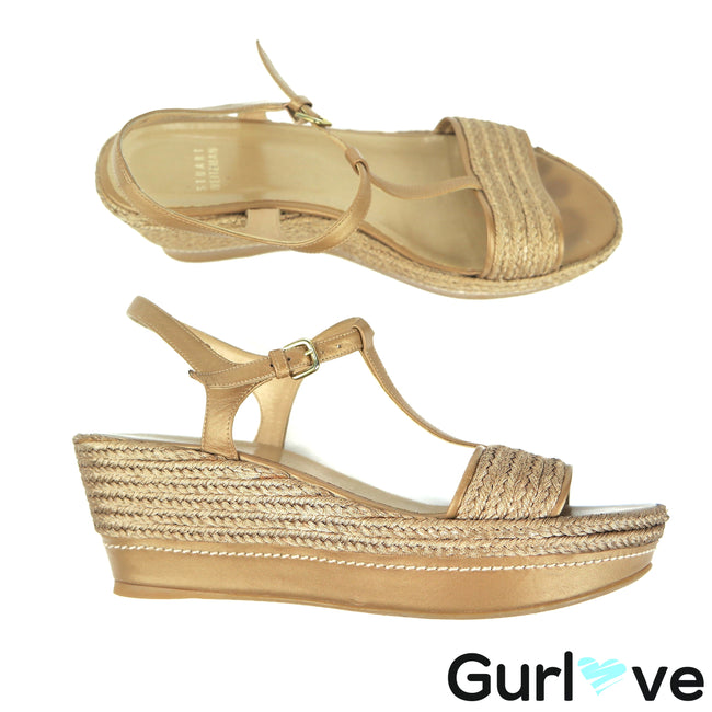 Stuart Weitzman 8.5 M Gold Knit Strappy Wedges Sandal