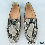 J. Crew 9 Snakeskin Tassel Leather Loafers Italy