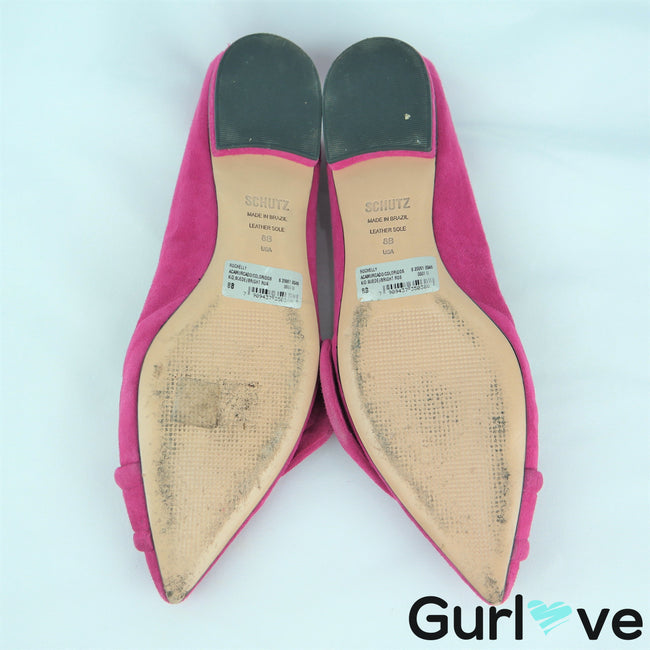 Schutz 8B Pink Rochelly Suede Pointed Toe Flats