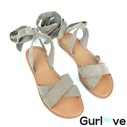 Old Navy Size 7 Taupe Cross Tie Sandals
