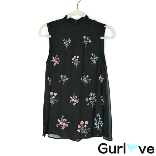 Sundance XS Black Embroidered Floral Sleeveless Turtleneck Tunic Top