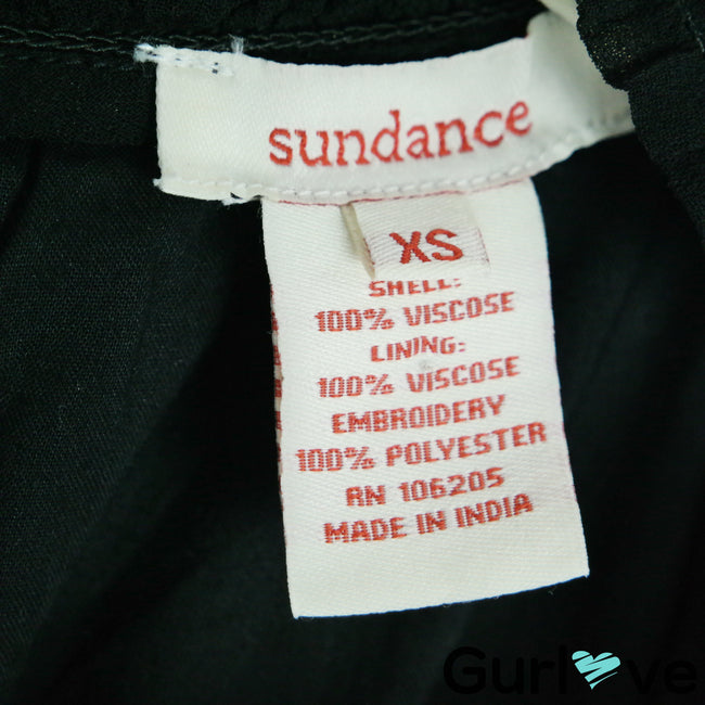 Sundance Size XS Black Embroidered Floral Sleeveless Turtleneck Tunic Top