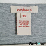 Sundance XS Gray Ruched Sides V Neck Top