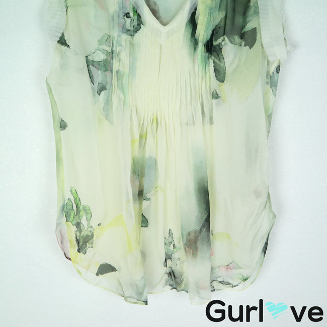 Elie Tahari Size XS Watercolor Gamble Abstract V Neck Sleeveless Silk Blouse Top