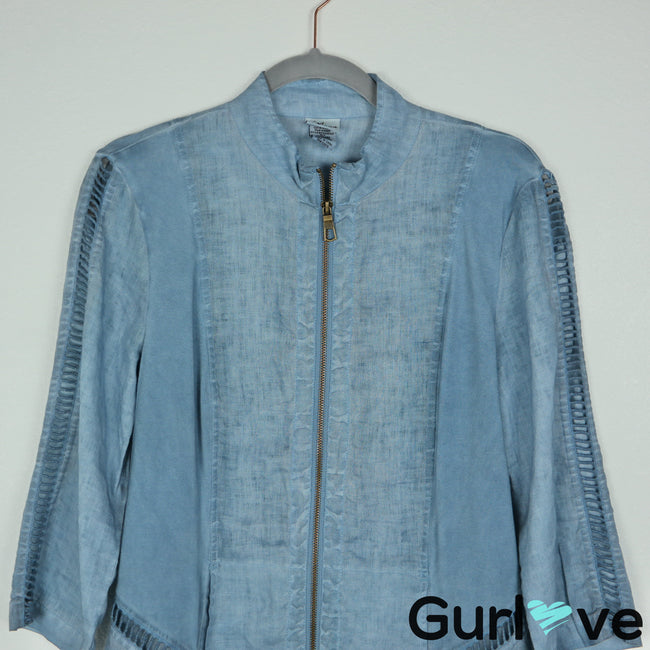 XCVI Size S Blue Linen 3/4 Sleeve Full Zip Top